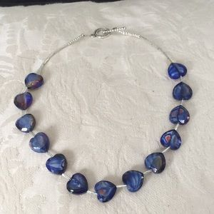 Jewelry - Handcrafted glass hearts w silver beads necklace .